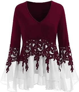 Fashion Womens Applique Flowy Chiffon V-Neck Long Sleeve Strapless Blouse Tops