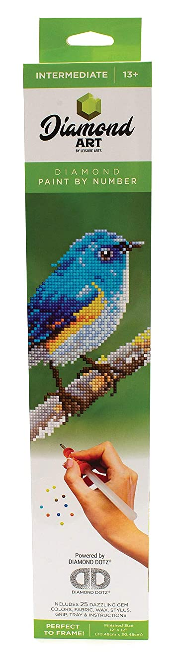 Leisure Arts - Diamond Art Sparkle Art Diamond Paint by Number Blue Bird Kit – 5D Pixel Painting DIY Arts and Crafts for Kids Canvas Wall Decor