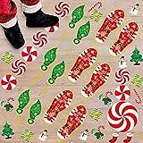 183PCS Christmas Peppermint Floor Clings Footprints Decorations - Santa Claus/Elf/Candy/Snowman Decals Xmas Party Decor Supplies