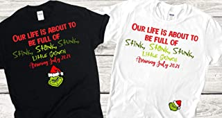 Couple G R I N C H Pregnancy Announcement for Christmas with customized Due Date/Our Life is About to be Full of Stink, St...