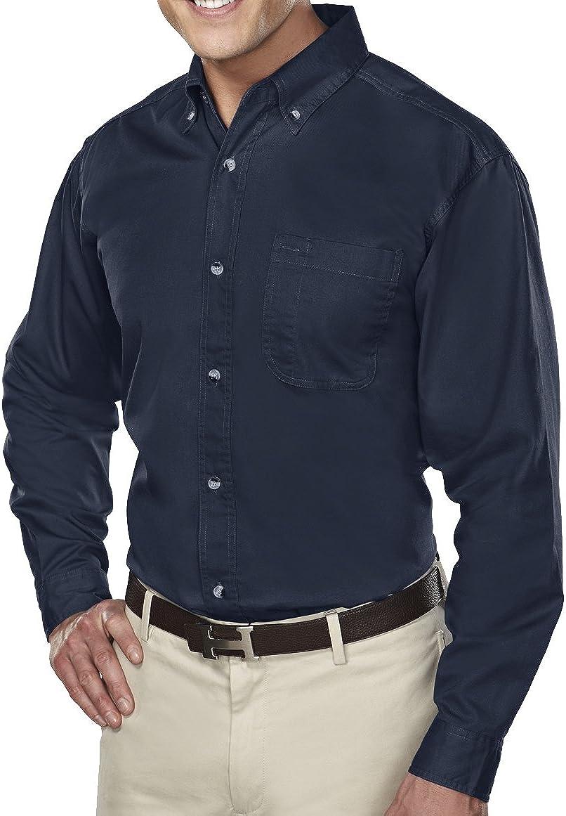 A&E Designs Men's Tall Size Down Collar Long Sleeve Dress Shirt - Navy