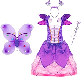 Fairy Costume Set with Flower Fairy Dress, Wings, Wand and Headband for Toddler Girls Ages 3-10