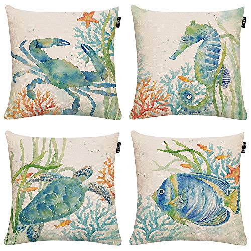 Set of 4 Ocean Beach Outdoor Throw Pillow Covers Turtle Crab Seahorse Fish Decorative Sea Coastal Theme Decor Cushion Square Pillowcase 18x18 inch Beach Pillows for Patio Couch Sofa,Marine Animals