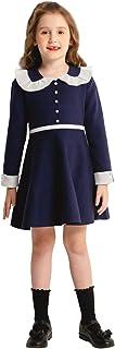 SMILING PINKER Little Girl School Dresses Uniform Sweater Ruffle Doll Collar Pearl Beaded