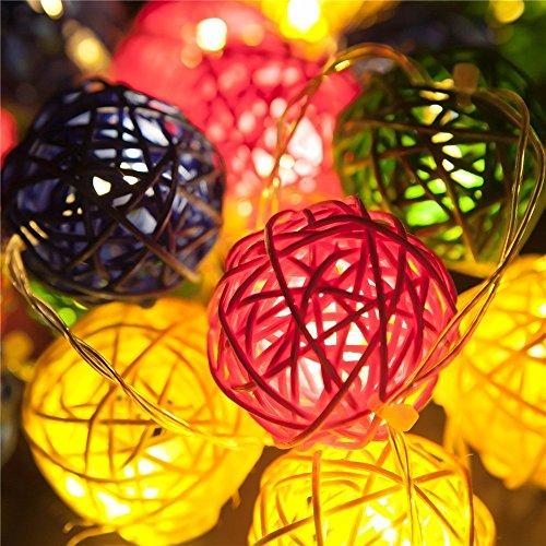 Samoleus Rattan Lichterkette Solar Farbe, 20 LEDS 4.8M 2Modes Außen Lichterketten Solar Lampions Wasserdicht Weihnachtsbeleuchtung für Gärten Häuser Outdoor (Farbe)