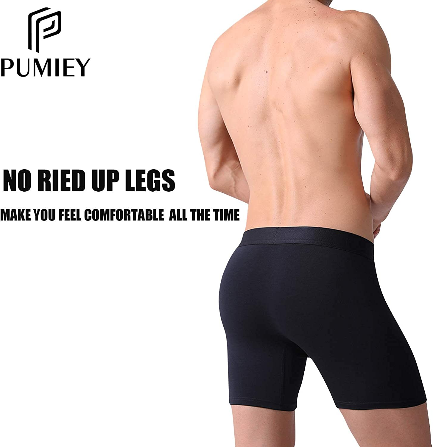 Pumiey Men's Boxer Briefs With Pouch Cotton Long One Fly Low Ries Boxer Briefs Underwear 5 Pack S M L XL XXL