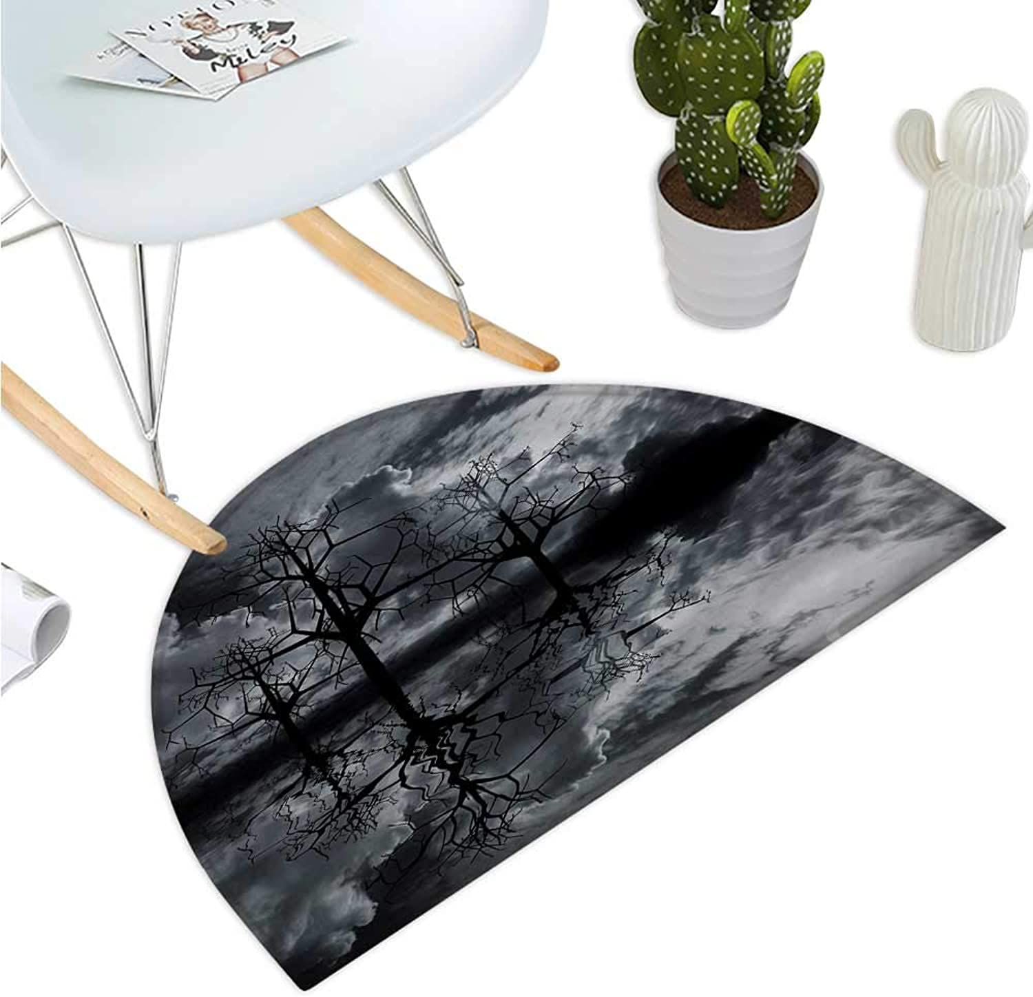 Landscape Semicircular Cushion 3D Graphic Fantasy Land at Night Cloudy Sky Moon Trees Water Reflection Bathroom Mat H 35.4  xD 53.1  Black White Grey