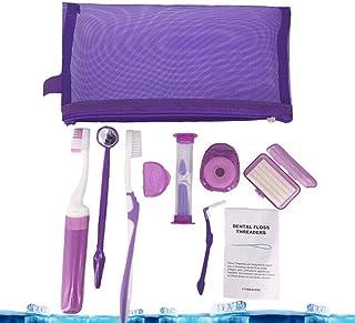 QYWSJ 9 Piezas Kit de Cuidado Bucal, Cepillo de Dientes de Ortodoncia, Cera Dental, Hilo Dental, ProteccióN de Soporte de Espejo, Kit de Viaje de Uso Diario FáCil de Llevar