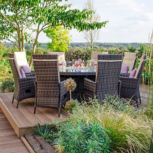 Nova Ruxley - Juego de Comedor para Exteriores de ratán con 8 Asientos, Mesa Redonda y sillas de jardín de 1,8 m, Muebles de Patio de Color marrón