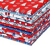 12 Piezas Tela Grande de Navidad de 22 x 18 Pulgadas Tela de Algodón con Tema de Navidad Paquetes de Tela de Patchwork Precortado para Manualidades Decoración de Navidad Protectores Faciales