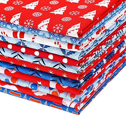 12 Pieces Christmas Fat Quarters 22 x 18 Inch Christmas Theme Fabric Precut Patchwork Fabric Bundles for DIY Craft Christmas Party Decoration Supplies Face Protectors