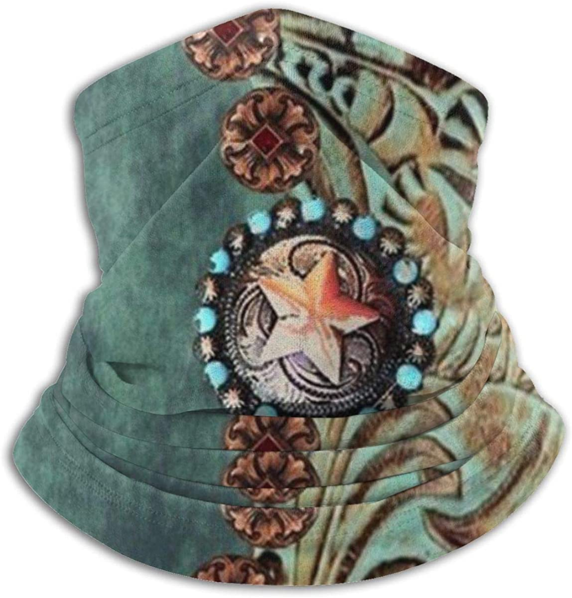 CLERO Scarf Fleece Neck Warmer Leather Price reduction Regular store Tooled Turquoise Western