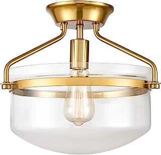 Modern Mid-Century Gold Clear Glass Ceiling Lights Brass...