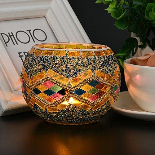 Ouneed® Portacandele in Cristallo Mosaico per Tavolo da Pranzo centrotavola centrotavola Decorativo...