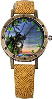 Brand Retro Bronze Vintage Leather Strap Watches Ladies Girl Quartz Watch Abstract Flowers 339.Exotic Vacation Resort Dusk Paradise Tropical