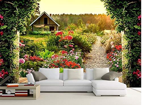 Wnyun 3D Fotobehang - Zijdedoek Premium Behang - Muurmuurdecoratie - Art Design-HD Print-Moder -Tv Achtergrond Paradijs Com t Tuin 350cmx245cm