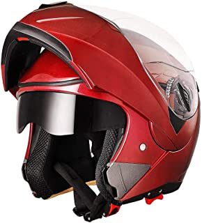 AHR Full Face Flip up Modular Motorcycle Helmet DOT Approved Dual Visor Motocross Red L