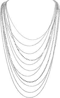 Humble Chic Layered Statement Necklace - Multi-Chain Waterfall Simulated Diamond Long Multistrand Chains Bib for Women - Sparkling CZ Crystal Rhinestone Jewels