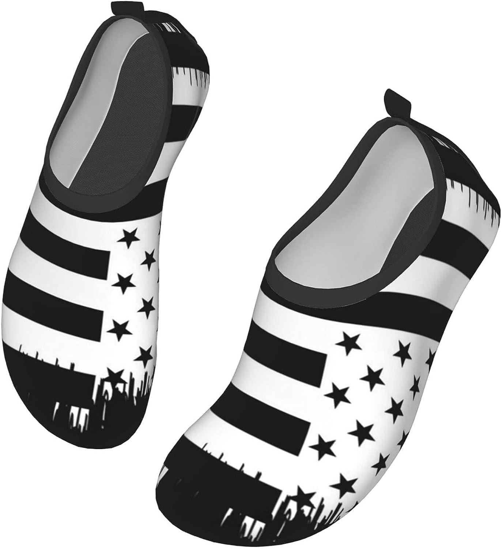 Yaiyilin American Flag Black Water Shoes Mens Womens Aqua Socks Quick Dry Barefoot Swim Beach Shoes for Pool Yoga Surfs Exercise