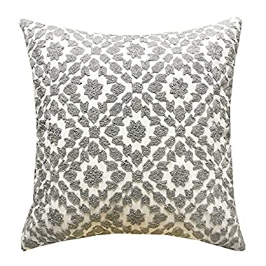SLOW COW Cotton Decor Throw Pillow Cover Embroidery Chain Design Pattern Cushion Cover Grey, 18x18 Inch.