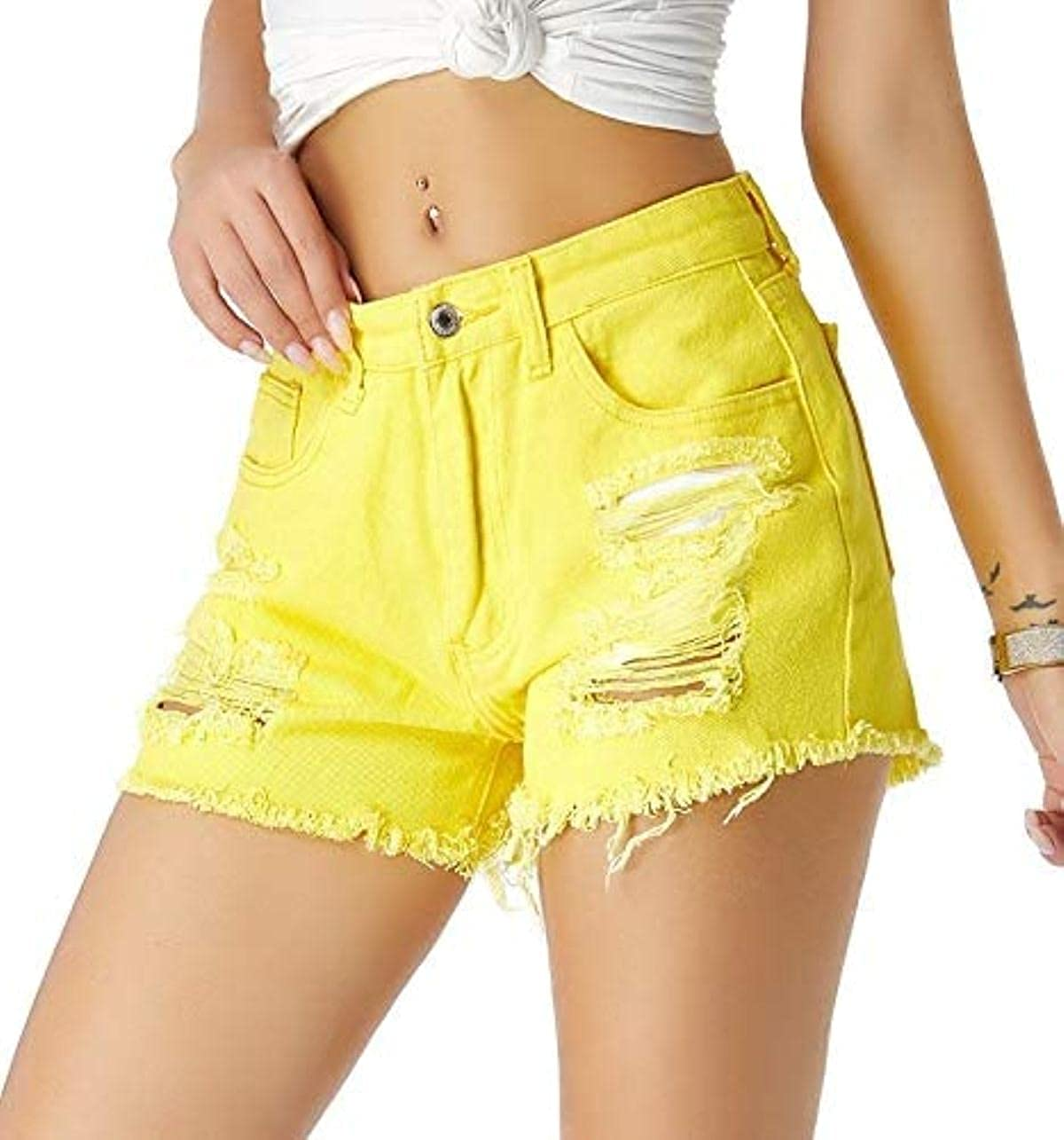 Rsqsjgkert Women's Mid Waist Distressed Ripped Denim Jeans Hot Shorts