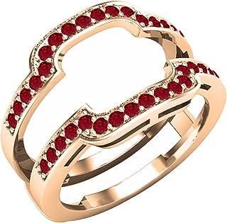Dazzlingrock Collection - Banda de boda doble con piedras preciosas redondas para mujer, oro rosa de 18 quilates