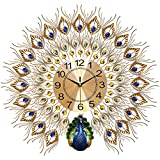 LANGSHI Peacock Wall Clock, Large Silent Wall Clock