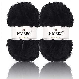 NICEEC 2 Skeins Super Soft Fur Yarn Chunky Fluffy Faux Fur Yarn Eyelash Yarn for Crochet Knit-Total Length 2×32m(2×35yds,50g×2)-Black