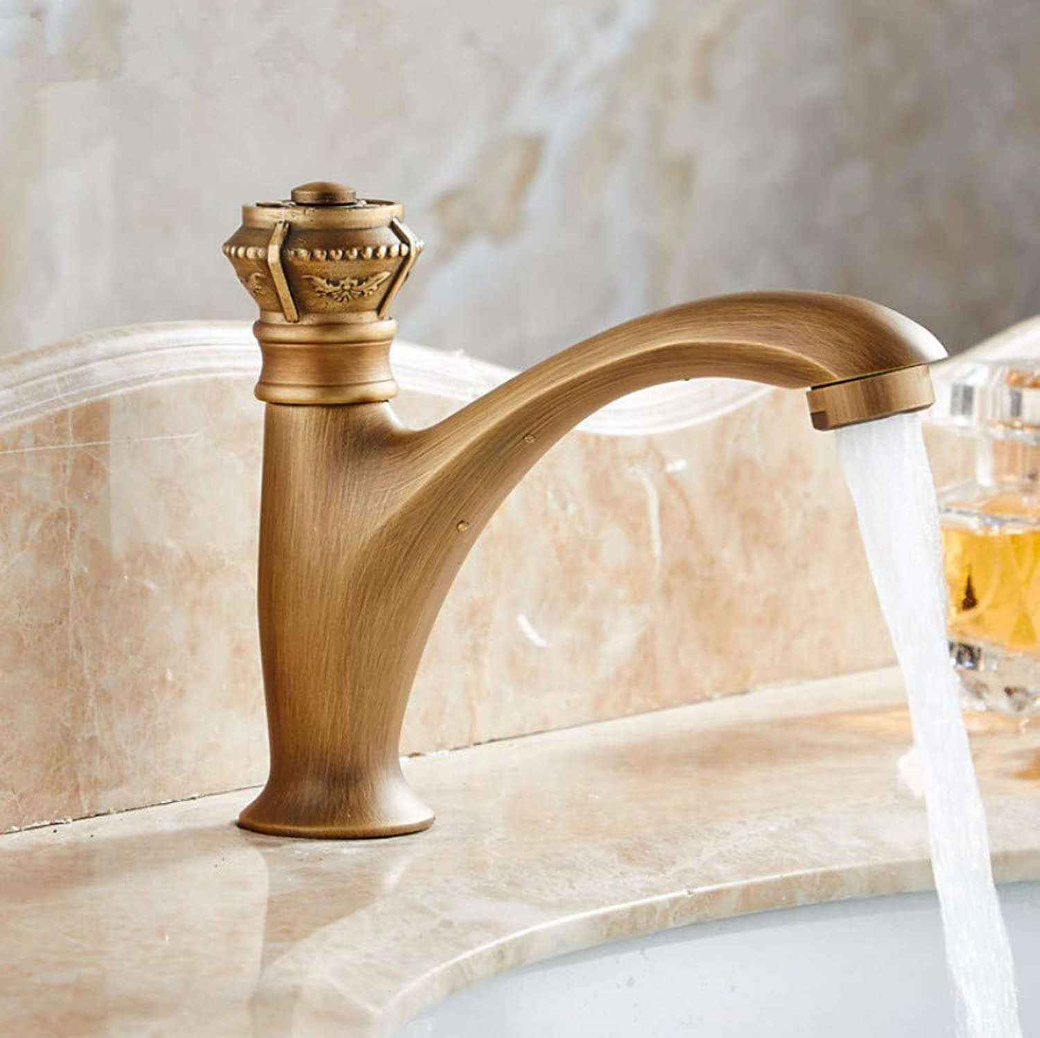 Dwthh Antique Carving Brass Taps Single Handle Deck Mount Cold Water Balcony Washing Basin Faucet