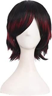MapofBeauty Mixed Color Short Straight Cosplay Costume Wig (Black/Red #02)