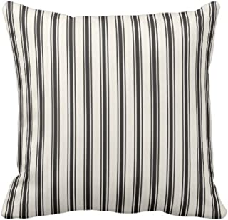 Emvency Throw Pillow Cover Classic Ticking Stripe Pattern Black and Cream Decorative Pillow Case Striped Home Decor Square 20 x 20 Inch Cushion Pillowcase