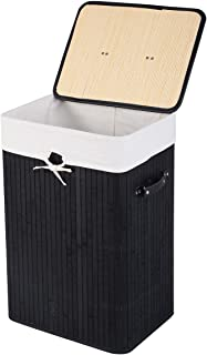 GOFLAME Bamboo Laundry Hamper Portable, Dirty Clothes Storage Basket with Lid and Removable Liner, Large Storage Clothes B...