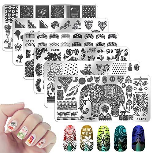6Pcs Nail Stamping Plate, MWoot Placas Para Uñas, Nail Art Stamping Plantillas Uñas Decoracion Arte De Uñas Diy Del Clavo Del Sello Placas Estampado Manicura