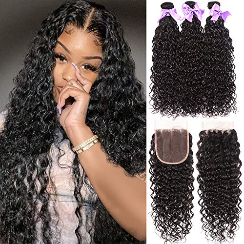 Water Wave Bundles With Closure 8A Brazilian Virgin Human Hair Wet and Wavy Hair Bundles with 4x4 Lace Closure Free Part 100% Unprocessed Curly Human Hair Natural Black Color (18 20 22+16closure)