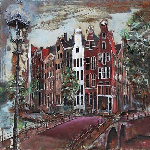 Schilderij - Metaalschilderij - Amsterdamse Grachten, 100x100 - Metaal - Muurdecoratie
