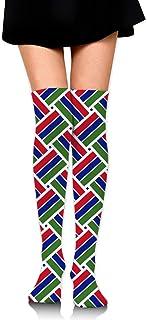 ガンビアの旗 オーバーニー ソックス レディース ニーソックス ハイソックス 美脚 着圧 保温 防寒 かわいい 通学 通勤