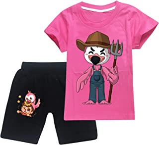 Fl-A-M.I.N.G-O Fl-I-M Fl.A.M Toddler Short Sleeve T-Shirt and Shorts 2 Pieces Set Boys and Girls Summer Tracksuit