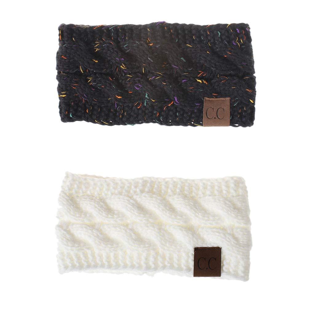 NUOBESTY 2pcs Womens Ear Warmers Headbands Winter Warm Fuzzy Cable Knitting Head Wrap Headscarf Ear Protecto for Women Girls(Black + White)