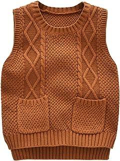 Chaleco de Punto para Niños Niñas Jerséis Sin Mangas Color Sólido Sweater con Bolsillos