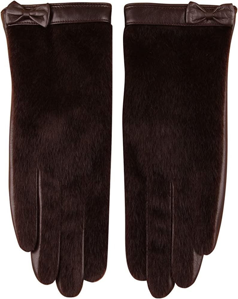 Women's Nappa Leather Winter Warm Lined Gloves with Faux Horsehair Hand Back