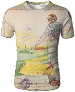 JohnHA Men's Elton John Goodbye Yellow Brick Road Fashion 3D Printed Short Sleeve Tee XL
