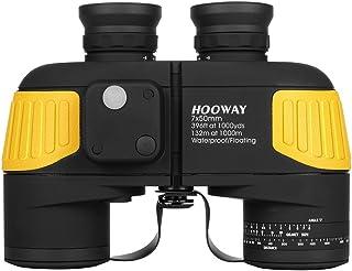 Hooway 7x50 Militär Marine Fernglas mit Kompass&Entfernungsmesser   Conplete Wasserdicht für die Navigation,Segeln,Bootfahren,Angeln,Wassersport und Jagd
