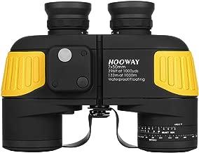 Hooway 7x50 Waterproof Fogproof Military Marine Binoculars w/Internal Rangefinder & Compass for Navigation,Boating,Fishing,Water Sports,Hunting and More