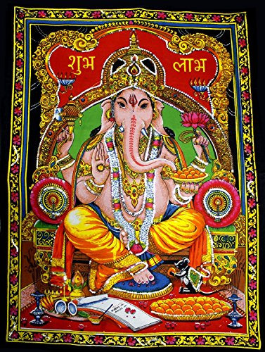 Uberdelic Wanddekoration, Pailletten, Motiv Ganesh