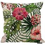 Ducan Lincoln 2Pcs 18X18inch-Tropische Blume Decor Dekokissen Kissenbezug, Aquarell Sommer Hawaii...