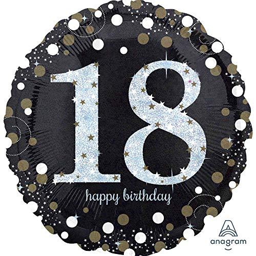 amscan 3323901 Folienballon 18 Sparkling Birthday, Schwarz, Silber, Gold