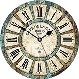 VIKMARI los números en Silencio para no Hacer tictac del Reloj de Pared rústica Romana Redonda de Madera Decorativo de la Pared Relojes 8 Inch Estilo rústico