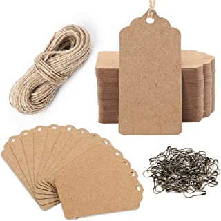 Moretoes 150pcs Kraft Gift Tags, Price Tags with 100ft Natural Jute Twine and Bronze Safety Pins, Rectangle Paper Hang Tags with String for Wedding or Christmas