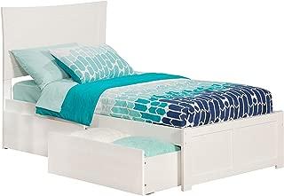 Atlantic Furniture Metro Platform Bed with 2 Urban Bed Drawers, Twin XL, White