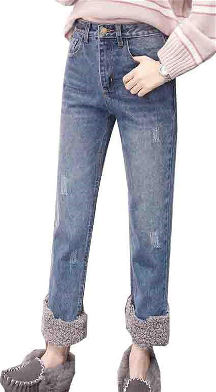[エージョン] レディース ジーンズ 裏ボア ロングズボン 暖かい パンツ 着痩せ ムートン 秋 冬 巻裾 ゆったり ハイウェスト ガウチョパンツ 無地 シンプル デニムパンツ スキニーパンツ ジーパン 冬用 ファッション
